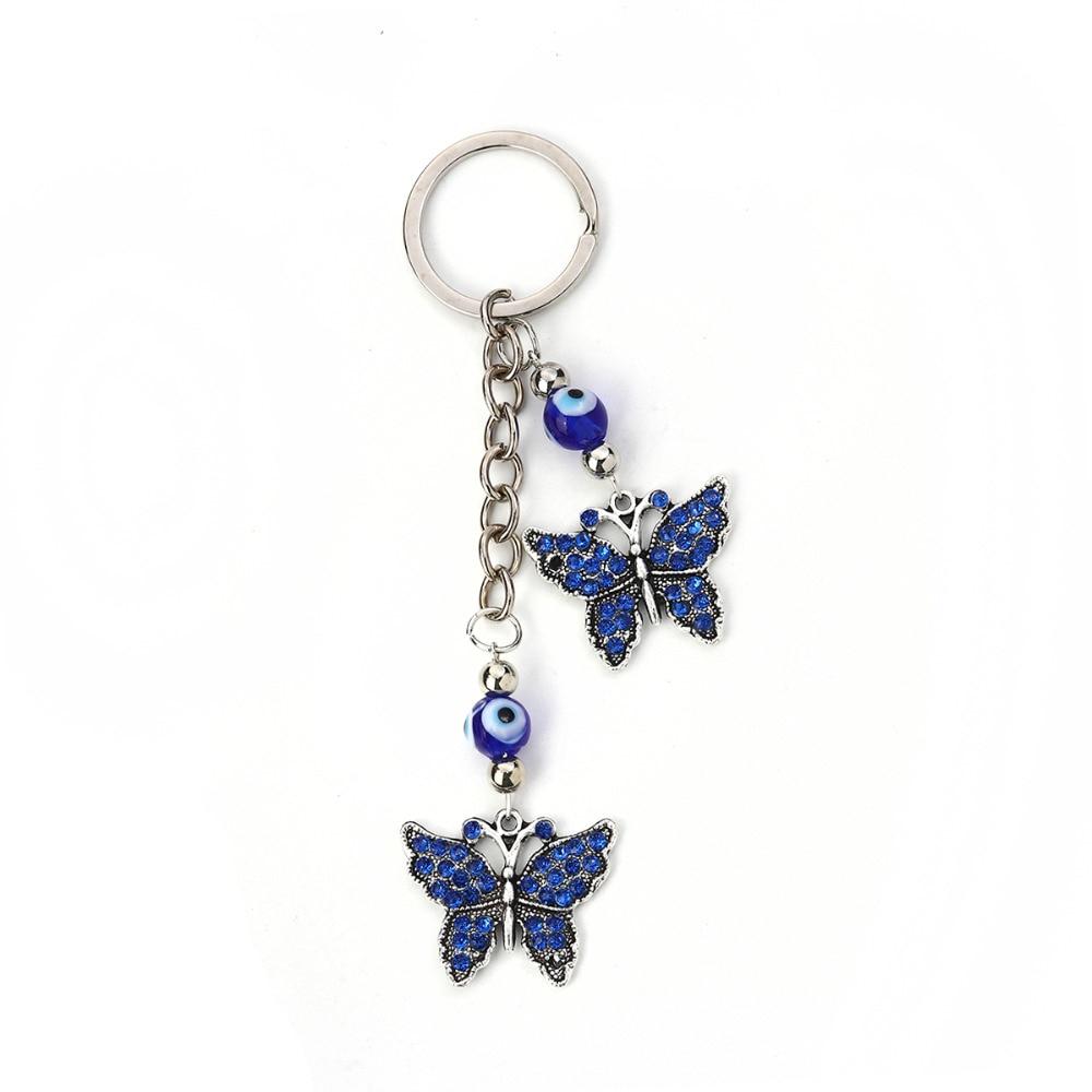 [해외]8Seasons Keychain & Keyring Butterfly Animal Antique Silver Evil Eye Royal Blue Rhinestone 13cm(5 1/8\