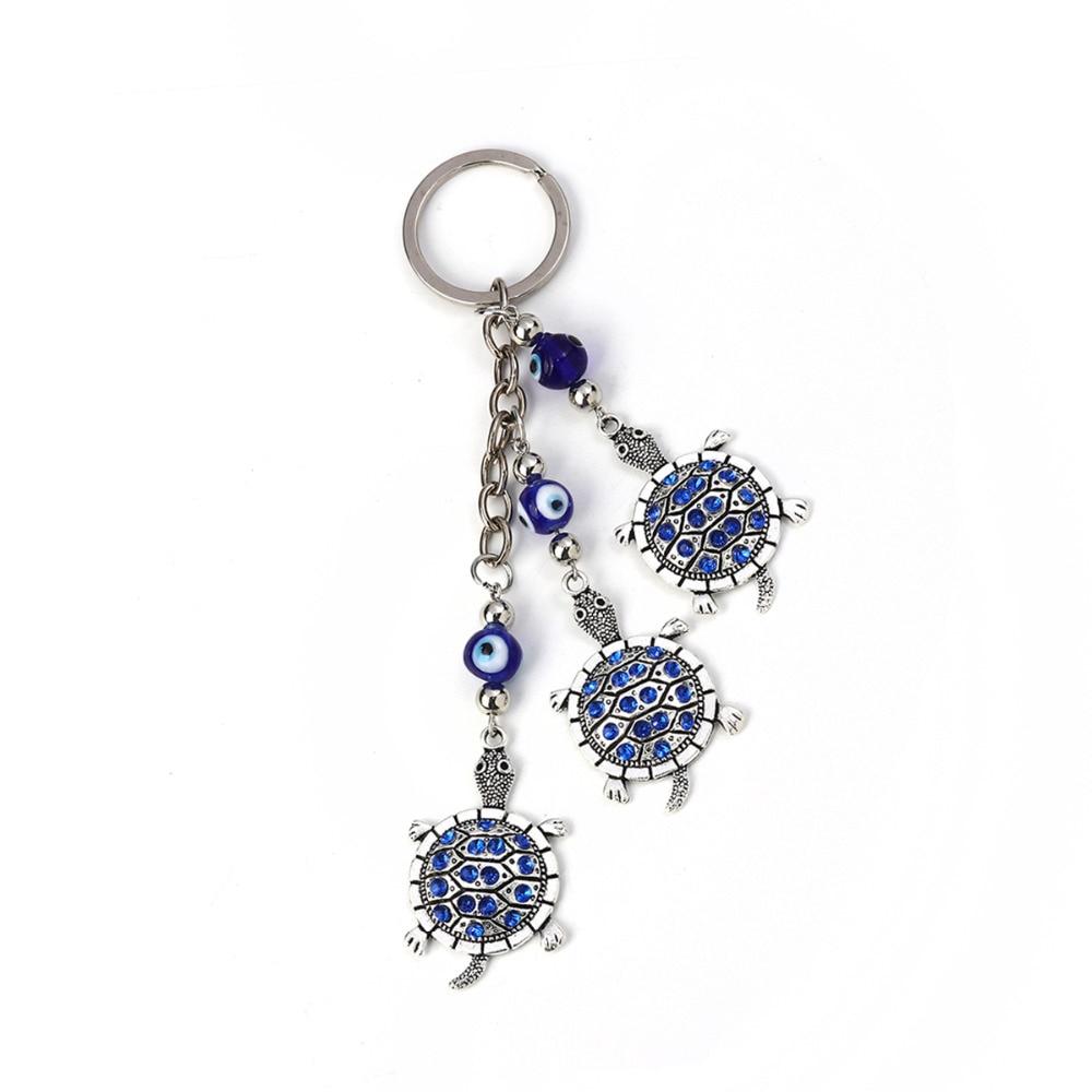 [해외]8Seasons Keychain & Keyring Tortoise Animal Antique Silver Evil Eye Royal Blue Rhinestone 15cm(5 7/8\