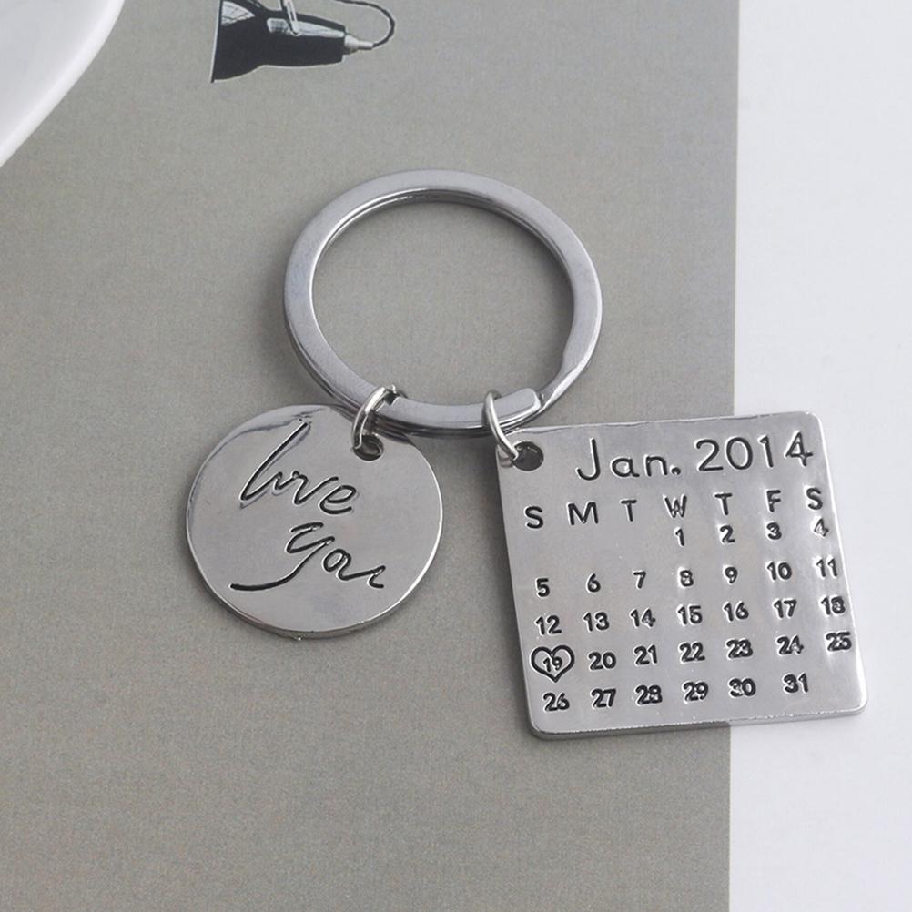 [해외]1PC Fashion Charm Attractive Exquisite Personalized Key Ring Calendar Keychain for Couples Lovers Friends Gifts Anniversary/1PC Fashion Charm Attr
