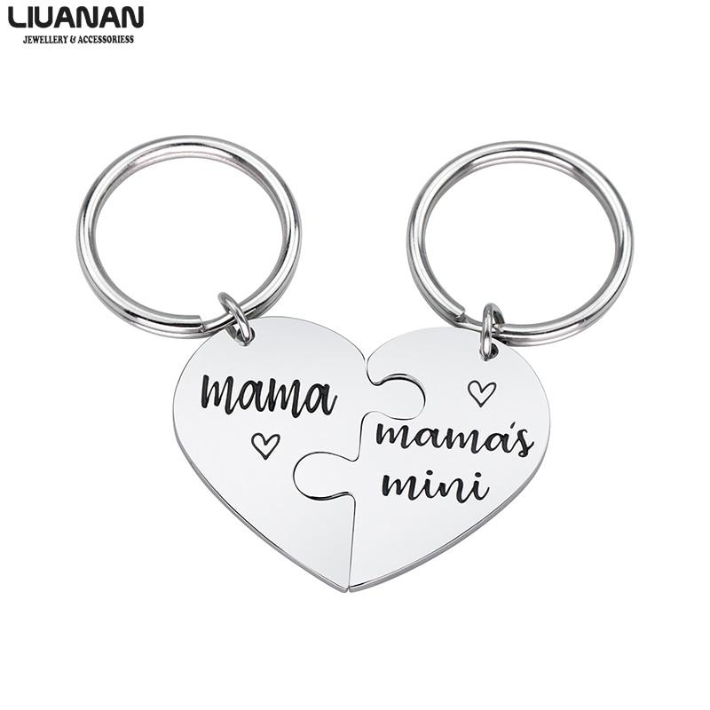 [해외]Stainless Steel Broken Heart Keychain for Mom Mother Daughter Keychain Set Keyring Engraved \