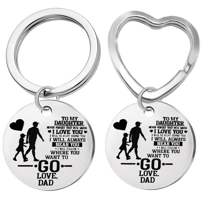 [해외]내 딸에 새로운 키 체인... 사랑 아빠 사랑 열쇠 고리 스테인레스 스틸 하트 펜던트 열쇠 고리 아빠는 딸에게 선물, christma를 제공합니다/내 딸에 새로운 키 체인... 사랑 아빠 사랑 열쇠 고리 스테인레스 스틸 하트 펜던트 열쇠 고리
