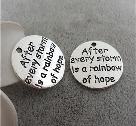 [해외] 20 Pieces/Lot Diameter 22mm Letter Engraved After Every Storm Is A Rainbow Of Hope Message Round Disc Hope Charm/ 20 Pieces/Lot Diameter 22mm Let