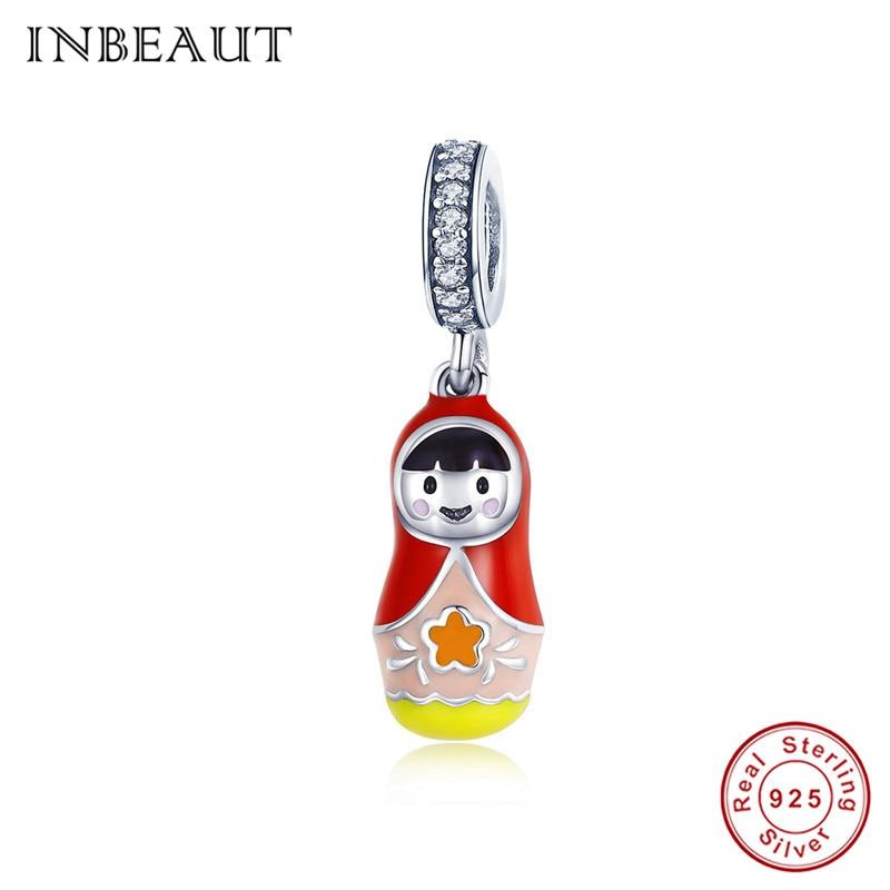 [해외]INBEAUT 100% Real 925 Sterling Silver Lovely Little Chinese GirlRed Scarf Charms fit Pandora Bracelet Enamel Beads Gift/INBEAUT 100% Real 925 Ster