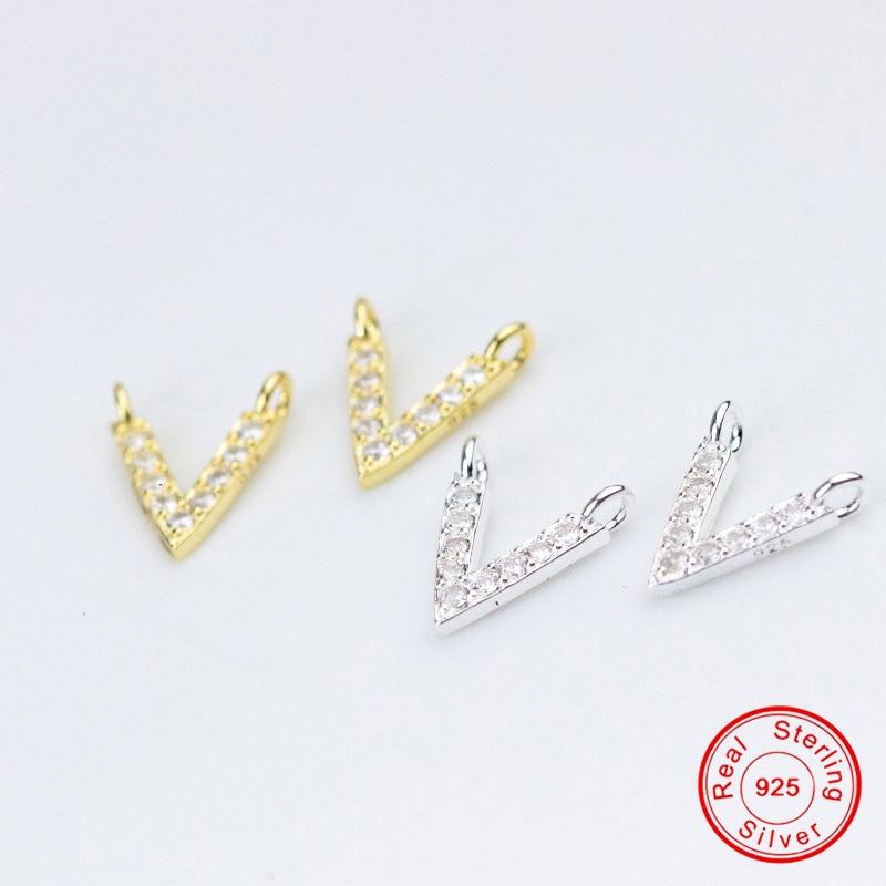[해외]UQBing Luxury 925 Sterling Silver AAA Cubic Zircon Letter V Charms For Women  DIY Charm Bracelet Necklaces Jewelry Findings/UQBing Luxury 925 Ster