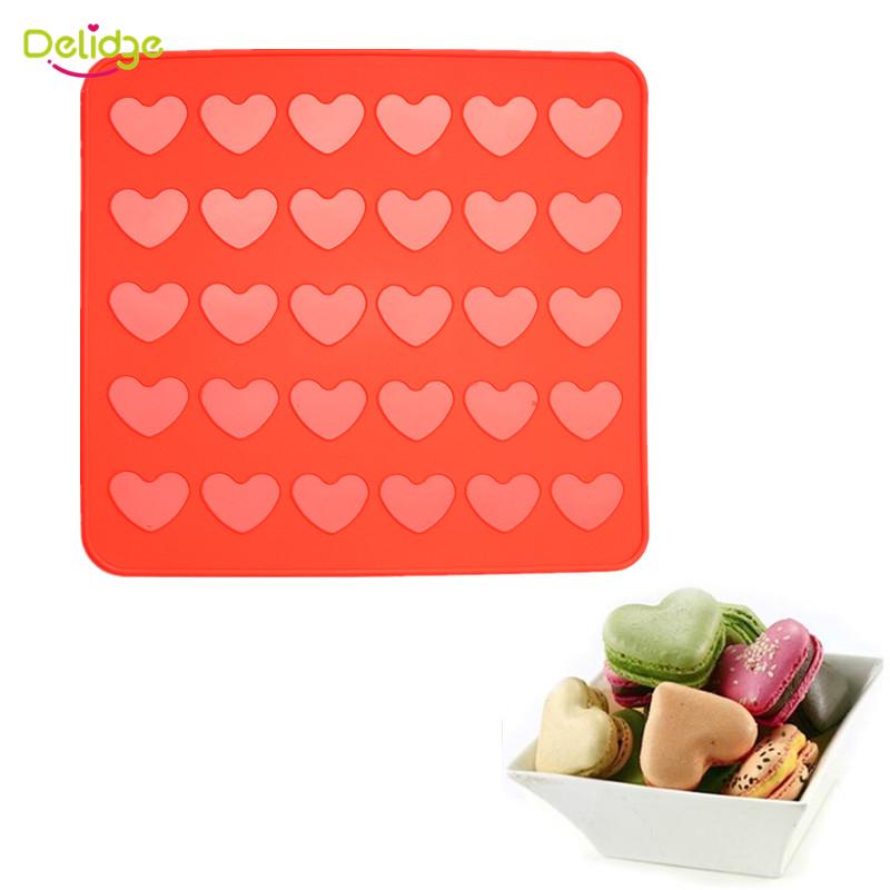[해외]Delidge 1 pc 30 구멍 마카롱 매트 붉은 심장 모양 실리콘 마카롱 금형 머핀 오븐 파스타 도구 베이킹 트레이 라이너 케이크 금형