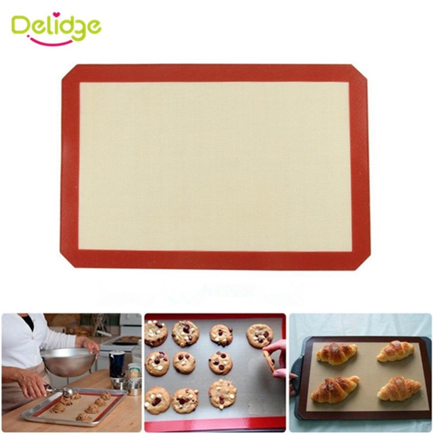 [해외]Delidge 1pc 대형 42*29.6cm 비 스틱 실리콘 베이킹 매트 케이크 쿠키 베이킹 라이너 요리 주방 액세서리