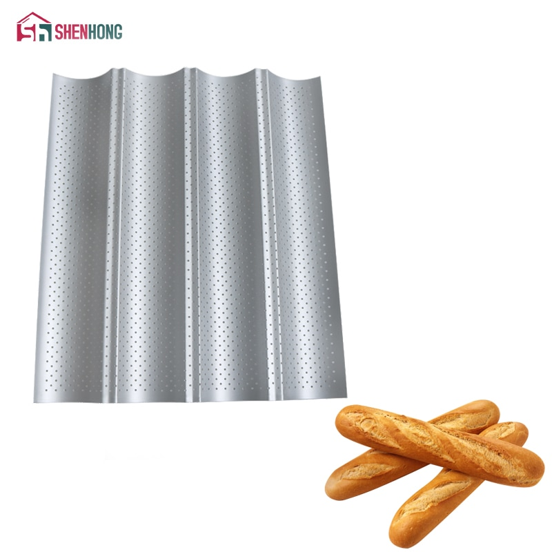 [해외]SHENHONG Carbon Steel 4 Groove 2 Groove Wave French Bread Baking Tray For Baguette Bake Mold Pan/SHENHONG Carbon Steel 4 Groove 2 Groove