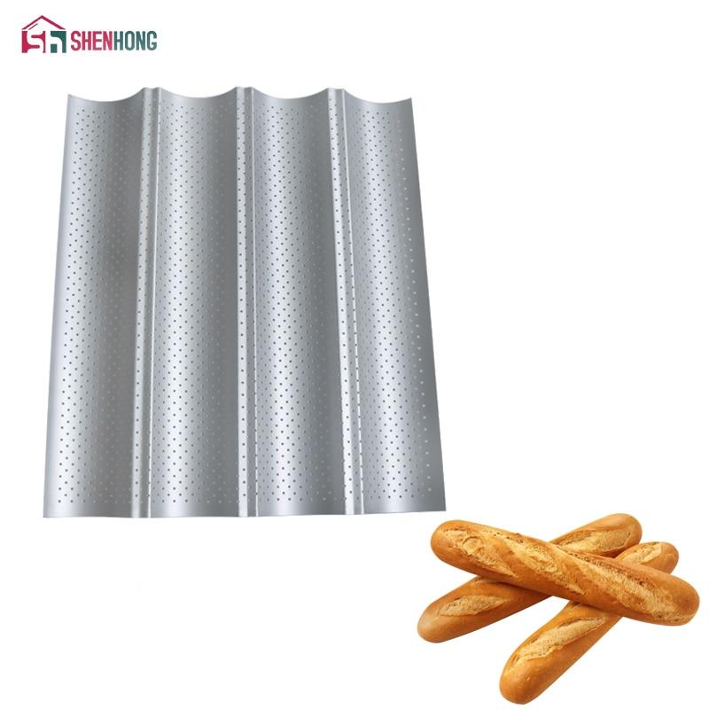 [해외]Shenhong 탄소강 4 그루브 2 그루브 웨이브 프랑스 빵 베이킹 트레이 바게트 베이킹 금형 팬