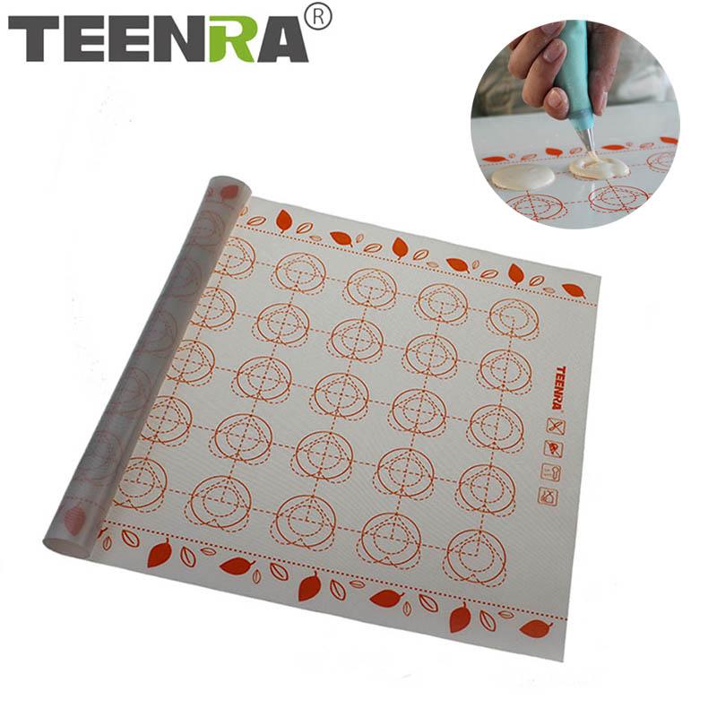 [해외]Teenra 1 pcs 40x30 cm marcaron 실리콘 베이킹 매트 비 스틱 실리콘 베이킹 시트 대형 롤링 매트 베이킹 라이너 과자 도구