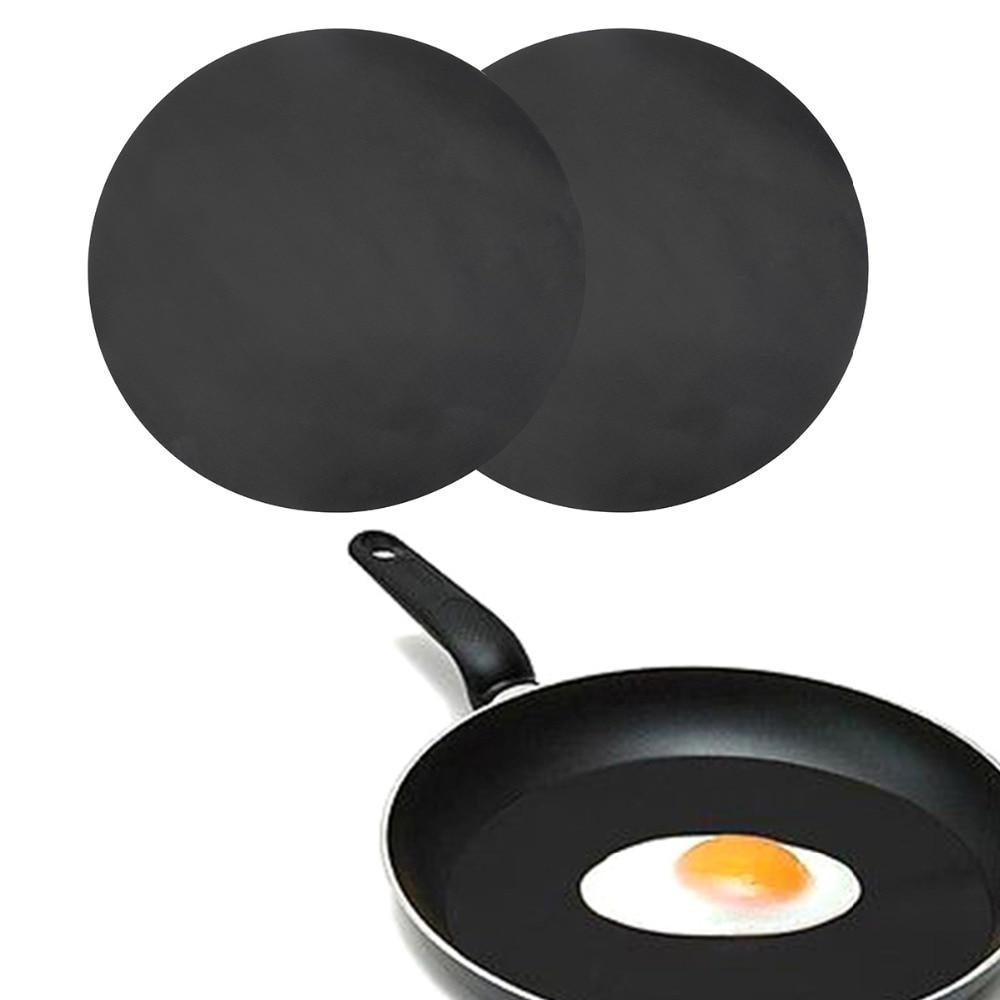 [해외]2 개/대 비 스틱 매트 내열성 팬 매트 바베큐 그릴 매트에 대 한 재사용 가능한 라운드 팬 패드 매트 dia 24cm 주방 요리 도구