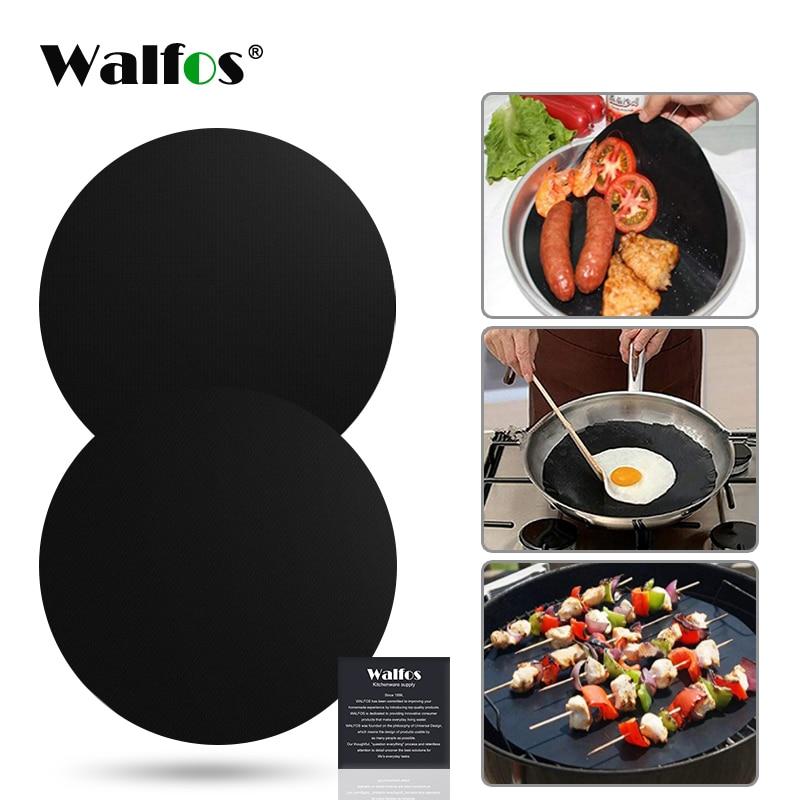 [해외]Walfos 2 pcs 재사용 가능한 비 스틱 매트 팬 프라이 라이너 시트 요리 wok 시트 패드 주방 바베큐 베이킹 매트 요리 도구 라운드