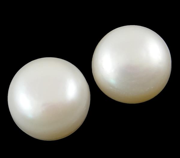 [해외]YYW Half Drilled Cultured Freshwater Pearl Beads,Wholesale Jewelry, Round, natural, half-drilled, white, 12-12.5mm Sold By Pair/YYW Half Drilled C