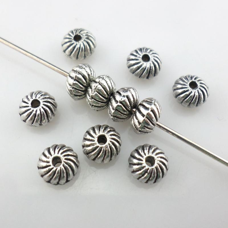 [해외]100pcs Tibetan Silver Small Oblate Stripe Charm Loose Spacer Beads 4x6mm Jewelry Findings /100pcs Tibetan Silver Small Oblate Stripe Charm Loose S