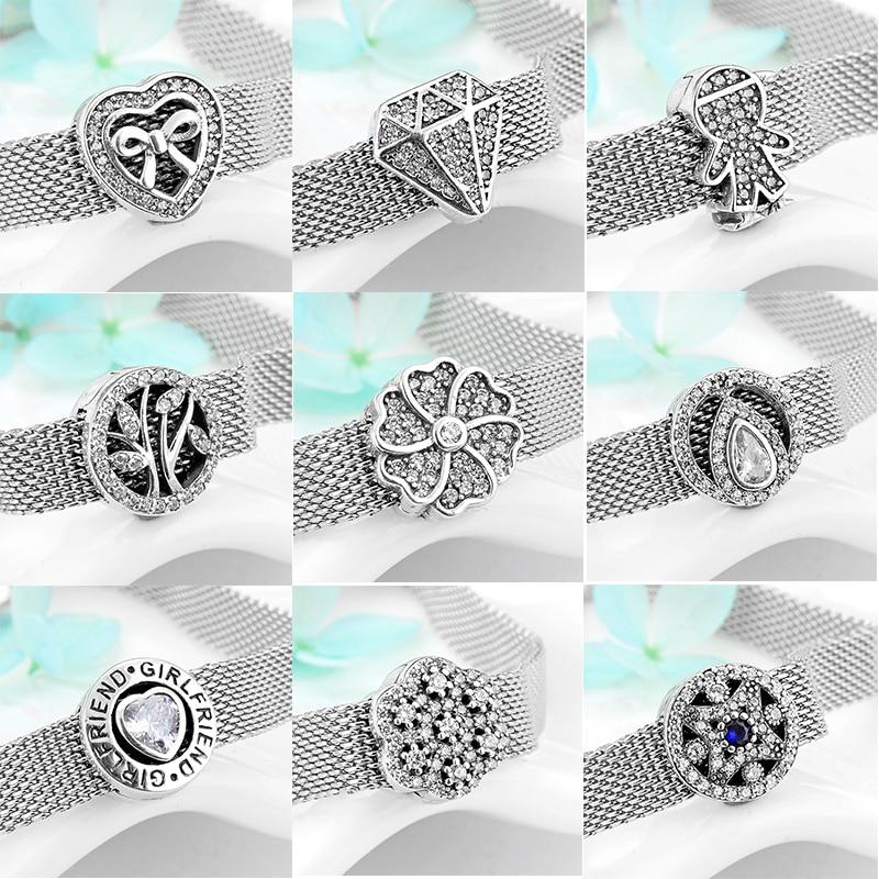 [해외]2019  925 Sterling Silver Sparkling CZ round Clip Beads Fit Original reflexions Bracelet Charms Jewelry making/2019  925 Sterling Silver