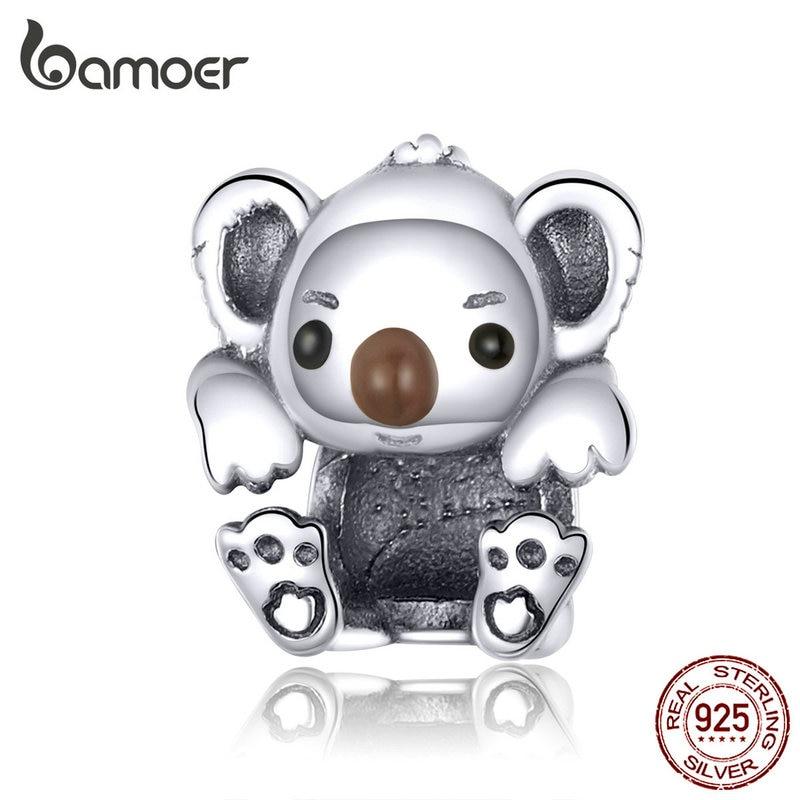 [해외]bamoer Baby Koala Metal Beads for Women Jewelry Making 925 Sterling Silver Animal Charm fit Bracelet & Bangle Jewelry SCC1304/bamoer Bab