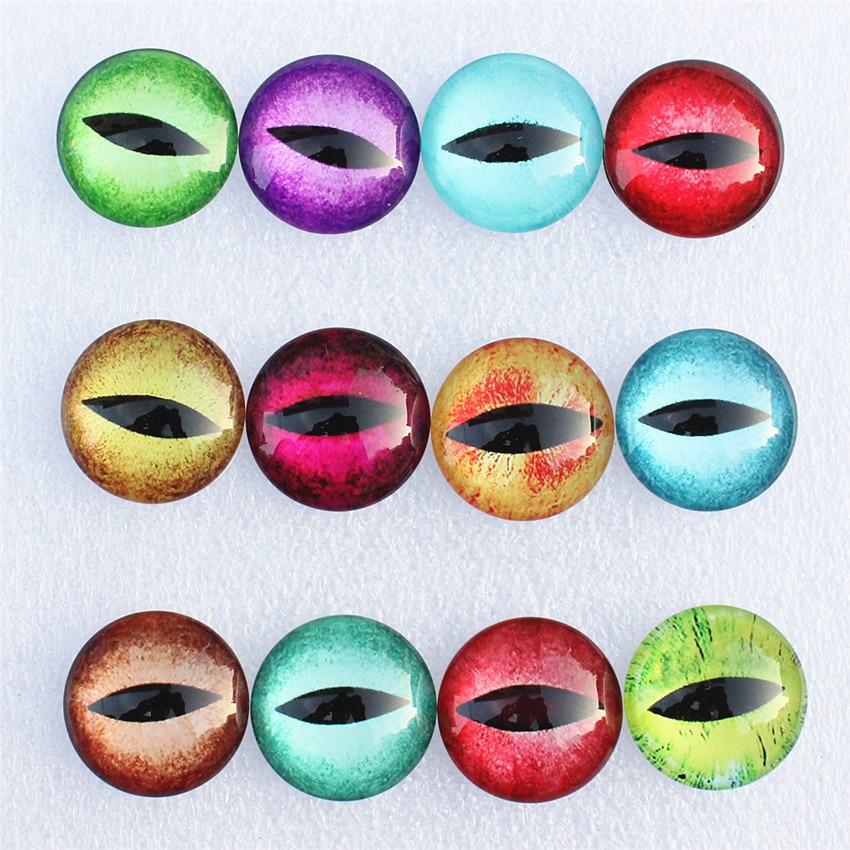 [해외]12mm Random Mixed Dragon Eyes Round Glass Cabochon Flatback Photo Dome Jewelry DIY Accessories For base Tray 50pcs/lot K06094/12mm Random Mixed Dr