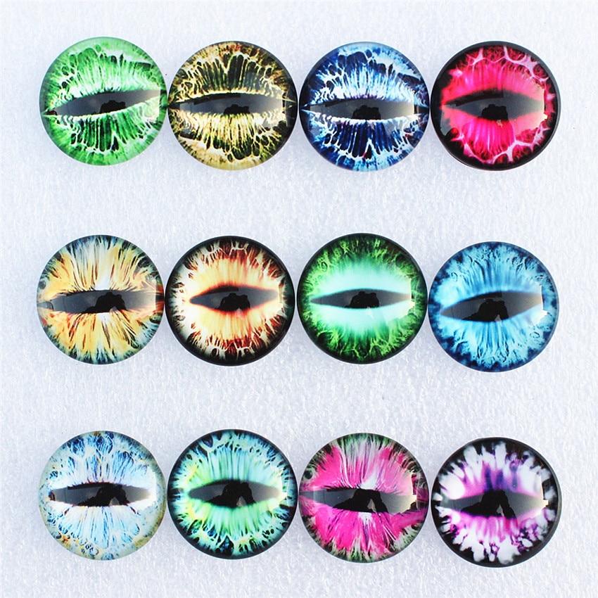 [해외]12mm Random Mixed Dragon Eyes Round Glass Cabochon Flatback Photo Dome Jewelry DIY Accessories For base Tray 50pcs/lot K06093/12mm Random Mixed Dr