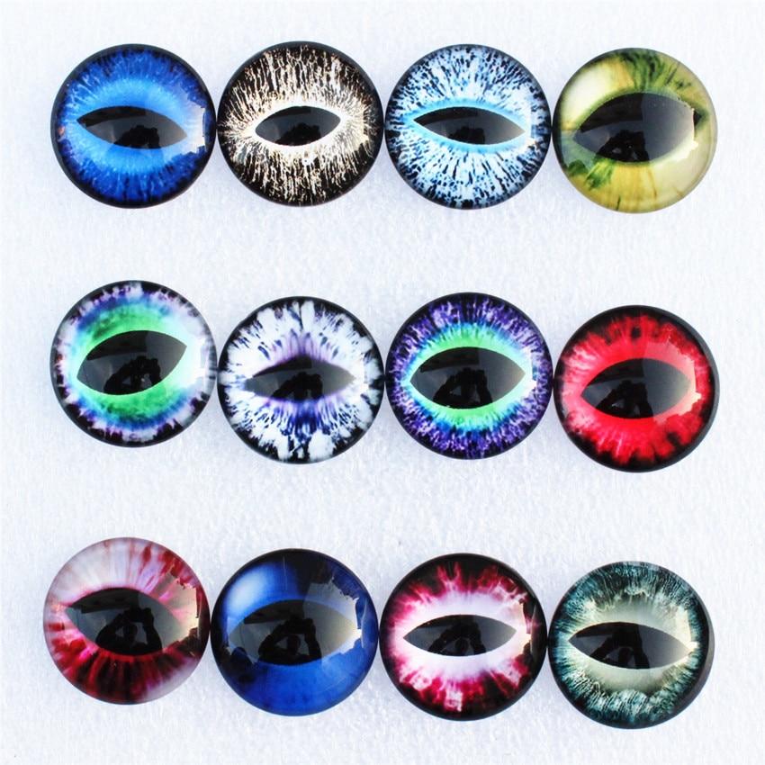 [해외]12mm Random Mixed Dragon Eyes Round Glass Cabochon Flatback Photo Dome Jewelry DIY Accessories For base Tray 50pcs/lot K06095/12mm Random Mixed Dr