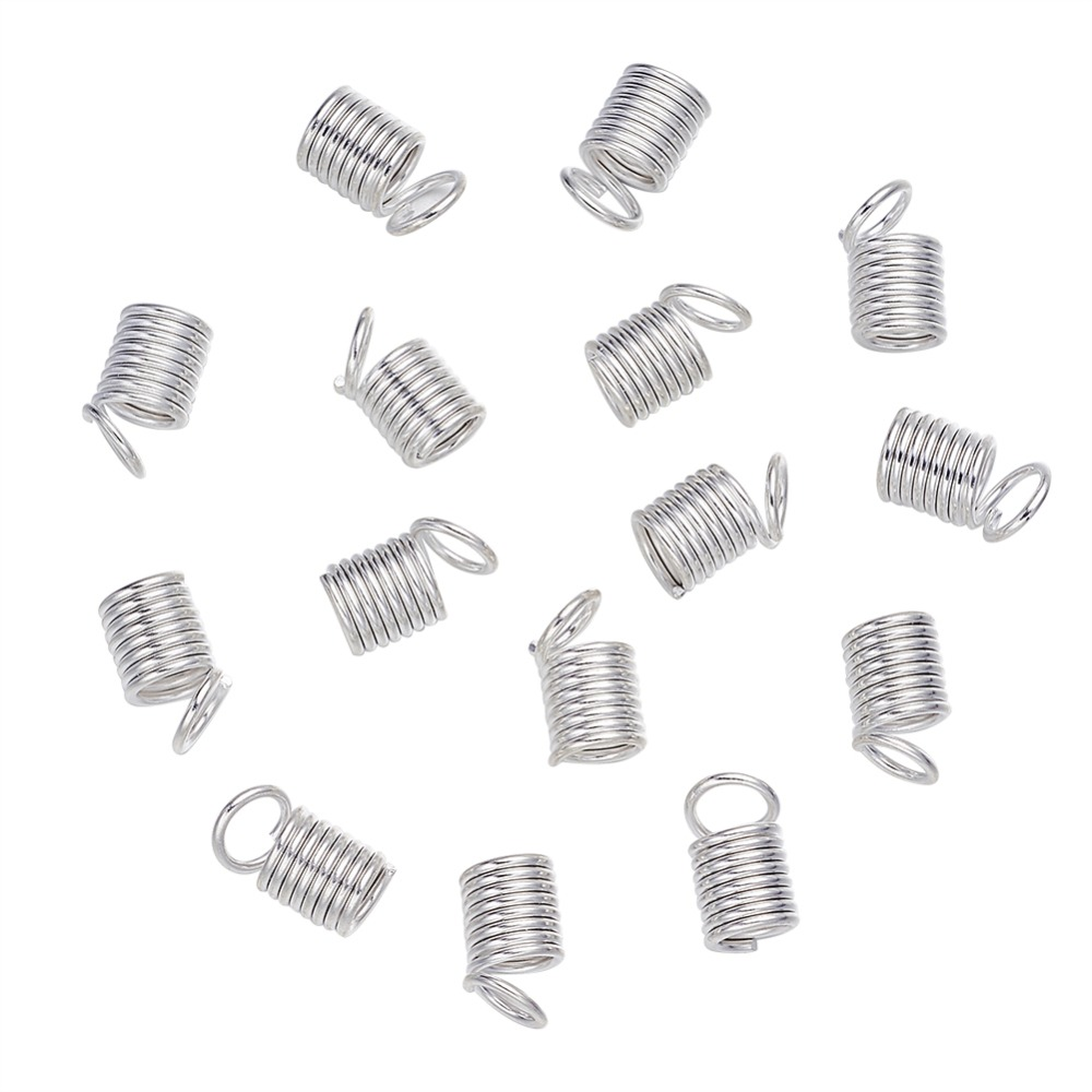 [해외]PandaHall 1200pcs 9x5mm Iron Metal Coil Cord Ends Silver Color Plated for Jewelry Making DIY Findings Component Wholesale /PandaHall 1200pcs 9x5mm