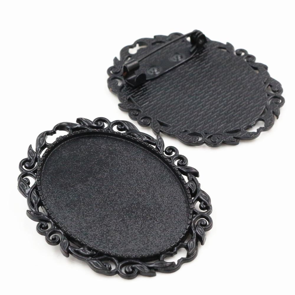 [해외]새로운 패션 5pcs 30x40mm 내부 크기 블랙 색상 도금 핀 브로치 피어싱 스타일 기본 설정 Pendant-B1-12
