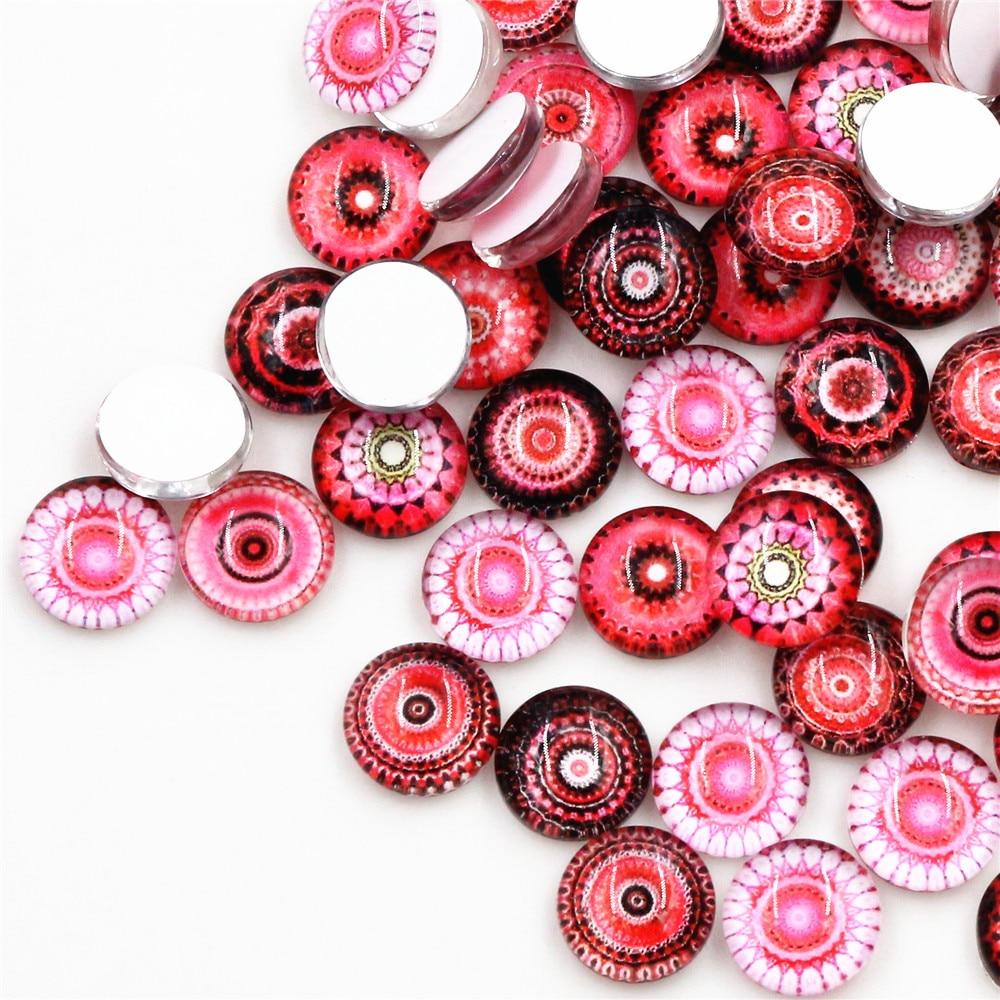 [해외]50 개/몫 12mm 버드 패션 사진 유리 카보 숑 혼합 컬러 카보 숑 팔찌 귀걸이 목걸이 자료 설정
