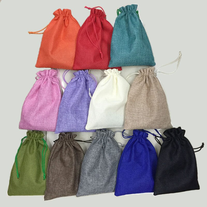 [해외]RE 10*14cm 50pcs/lot Handmade Jute Drawstring Burlap Wedding Party Christmas Gift Jewelry Pouches Packaging Bags/RE 10*14cm 50pcs/lot Handmade Jut