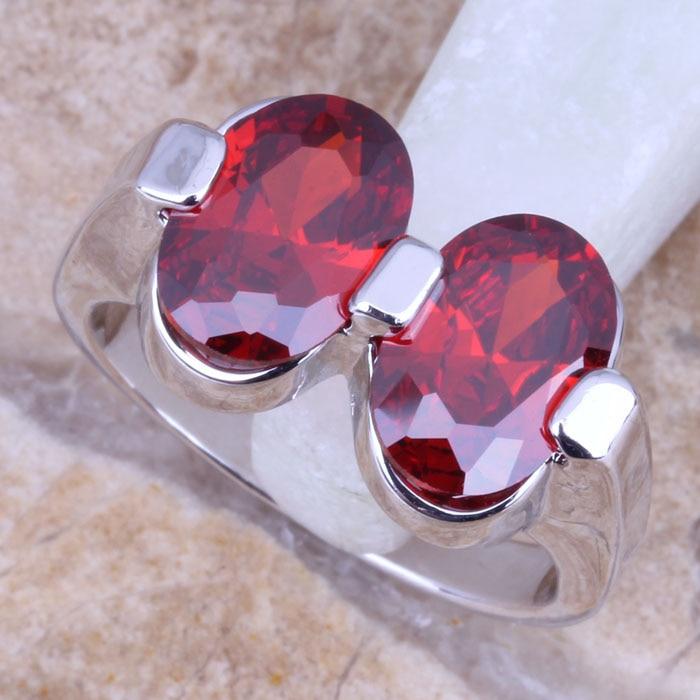 [해외]놀라운 레드 가닛 실버 925 여성용 반지 사이즈 6 / 7 / 8 / 9 / 9.5 R0932 스탬프/Marvelous Red  Garnet Silver Stamped 925 Women`s  Ring Size 6 / 7 / 8 / 9 / 9.5  R0932