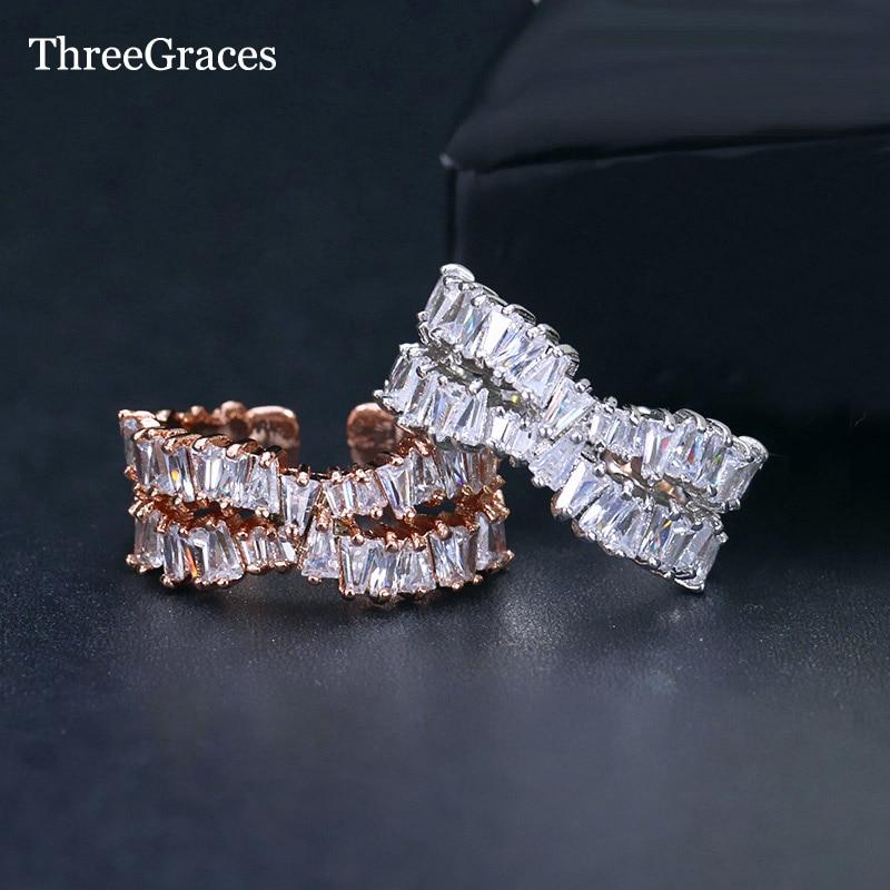 [해외]여성에 대 한 ThreeGraces 럭셔리 약혼 반지 기하학적 인 긴 정사각형 CZ 크리스탈 조정 가능한 결혼 반지 신부 보석 RG066/ThreeGraces Luxury Engagement Ring For Women Pave Geometric Long Squa