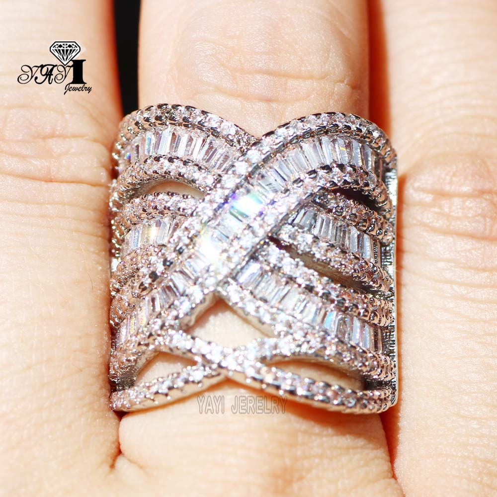[해외]야이 쥬얼리 패션 프린세스 컷 10.6 코네티컷 화이트 지르콘 실버 컬러 약혼 반지 웨딩 크라운 링 파티 링 683/YaYI Jewelry Fashion  Princess Cut 10.6 CT White  Zircon Silver Color Engagement