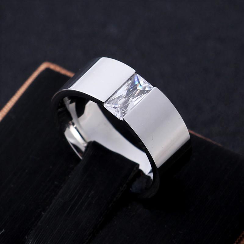 [해외]남성과 여성을라이트 미러 폴란드어 8MM 지르콘 티타늄 반지 실버 색상/Light Mirror Polish 8MM Zircon Titanium Ring for Men and Women Silver color