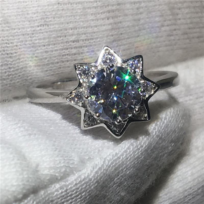 [해외]꽃 모양 100 % Soild 925 스털링 실버 반지 2ct Sona 5A 지르콘 스톤 약혼 웨딩 밴드 남성 여성용 보석 반지/Flower shape 100% Soild 925 Sterling Silver ring 2ct Sona 5A zircon Stone