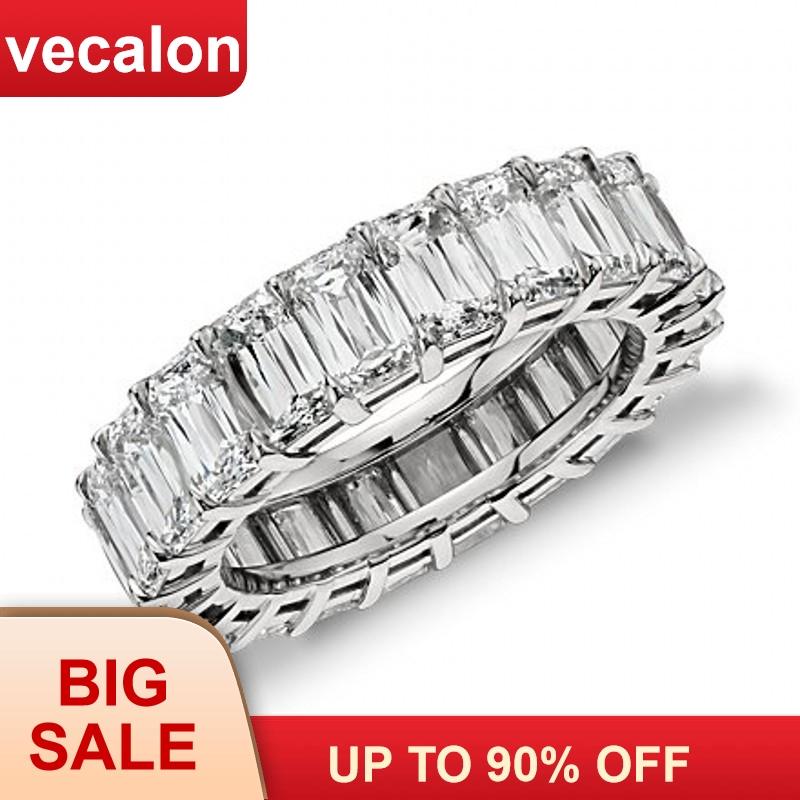 [해외]Vecalon 패션 웨딩 밴드 반지 925 스털링 실버 공주 컷 5A 지르콘 Sona Cz 여성을약혼 반지 Finger Jewelry/Vecalon Fashion Wedding Bands Ring 925 Sterling Silver Princess cut 5A