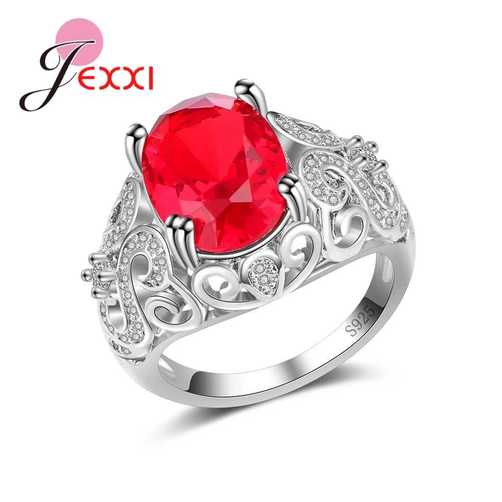 [해외]JEXXI 패션 여성을새로운 925 스털링 실버 문구 손가락 반지 소녀 붉은 타원형 큐빅 지르콘 보석 보석 선물/JEXXI Fashion New 925 Sterling Silver Statement Finger Rings for Women Girl  Red Ov