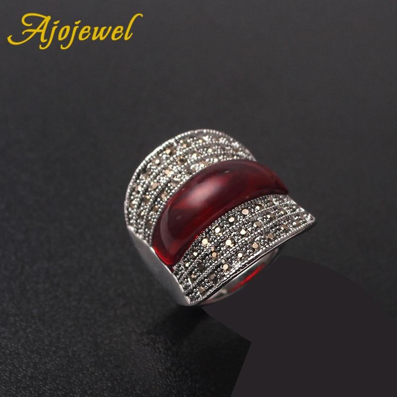 [해외]Ajojewel 2018 오리지널 쥬얼리 레드 스톤 기하학적 인 빈티지 링, 여성용 블랙 라인 스톤 즈 Bijoux Fine Wedding Gift/Ajojewel 2018 Original Jewelry Red Stone Geometric Vintage Ring