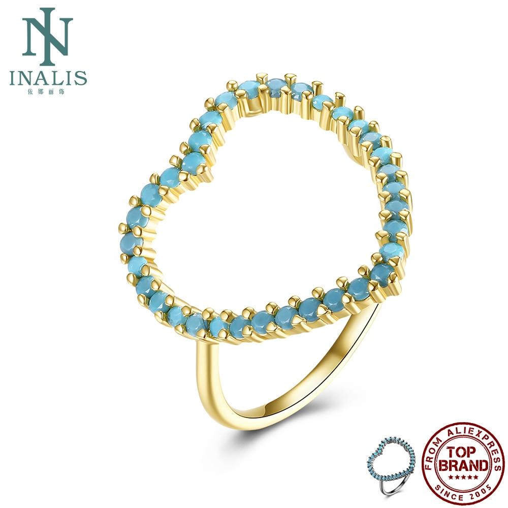 [해외]INALIS 브랜드 쥬얼리 링 빈티지 터키석 반지 여성 낭만적 인 빅 하트 디자인 보헤미아 패션 쥬얼리/INALIS Brand Jewelry Rings Vintage Turquoises Rings Romantic Big Heart Design for Women