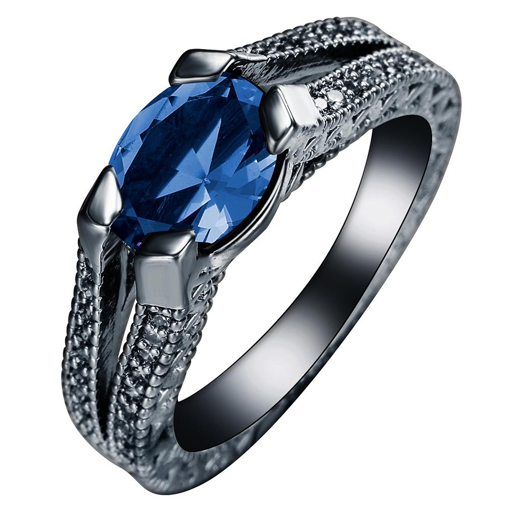 [해외]/Oval Rings black gun plated Classic Fashion jewelry Wholesale Special Design OEM S Mall Royal Blue CZ zircon Engagement Ring