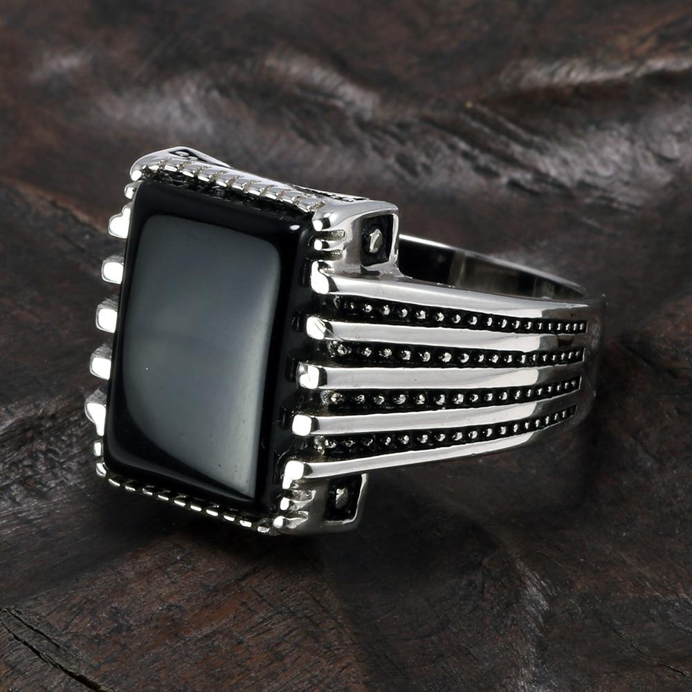 [해외]/Real Pure 925 Sterling Silver Rings Cool Vintage Rings In Fijne Sieraden Turkey Ring For Men Black Micro Pave Zircon