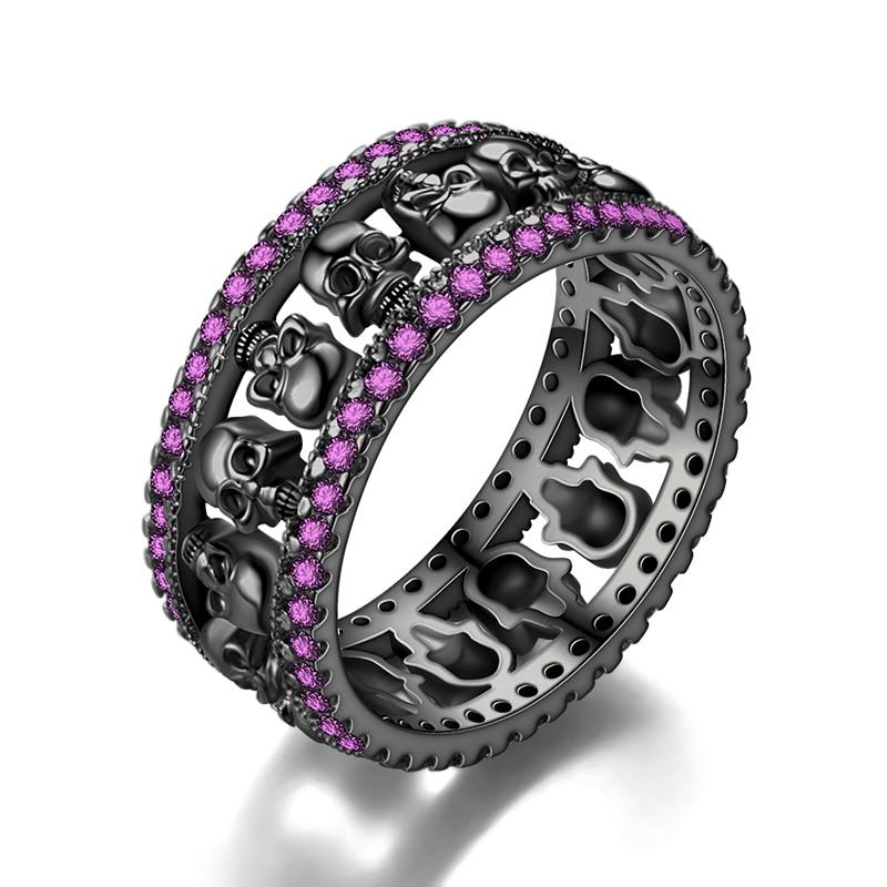 [해외]/Skull Ring Women`s Men Red Crystal Black Party Ring Birthstone skullWedding Valentine`s Day jewelry Dropshipping