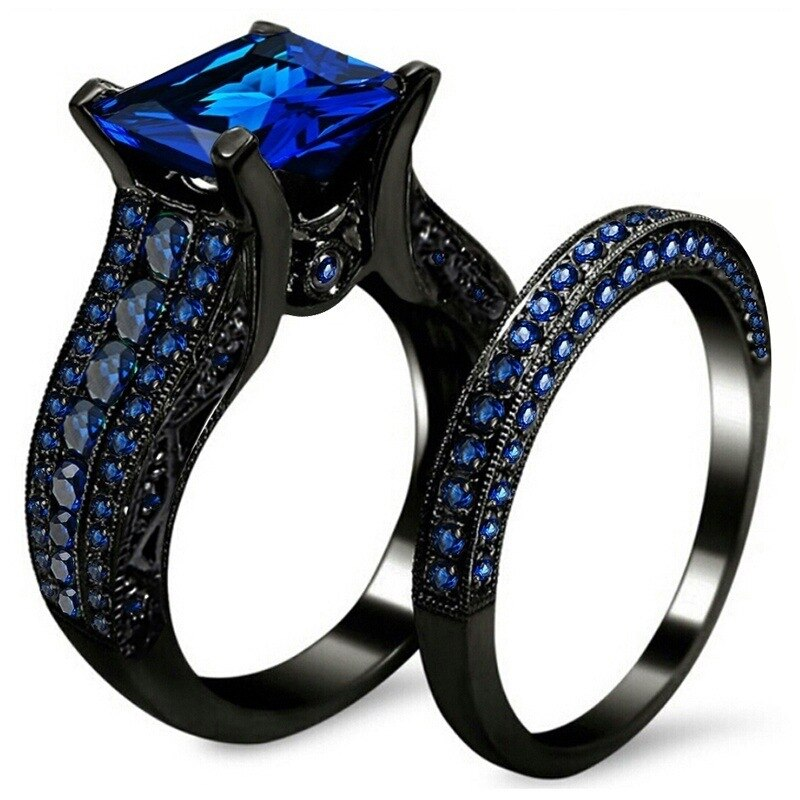 [해외]/2 in1 Unique Micro Blue Black Zircon Pave Setting Finger Ring Set Wedding Party Elegant Fashion Jewelry Luxury Rings