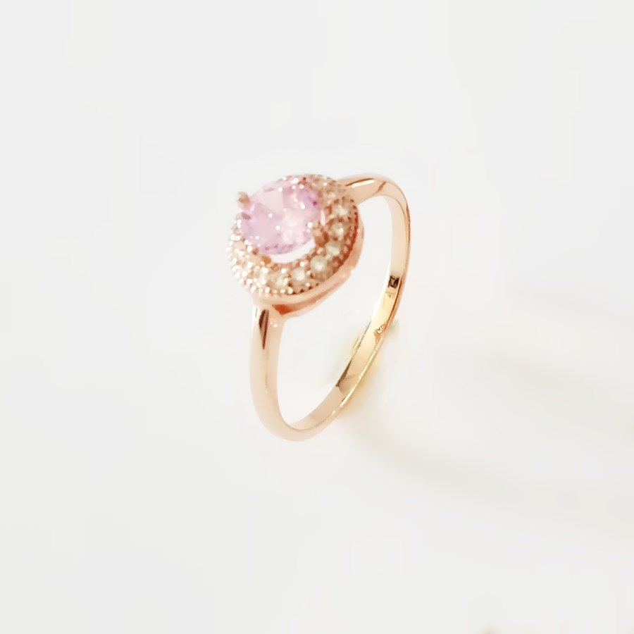 [해외]/Women Rings 2019 Luxury Wedding Jewelry Trendy Rose Gold Color Jewelry Pink Round Shape Engagement Ring Designs for Women