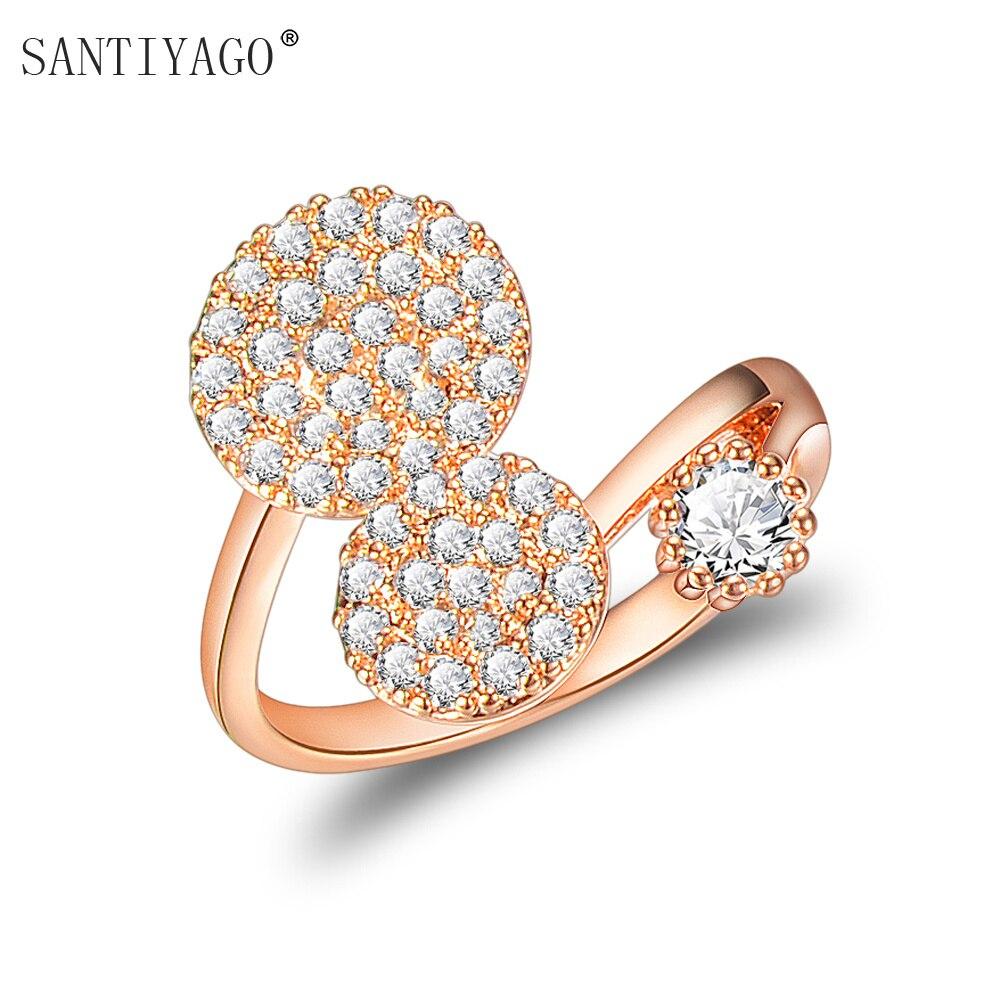 [해외]/2018 Women Rings Wedding Dress Rose Double Round Design Fashion Adjustable Jewelry Wedding Bands Rings For Women