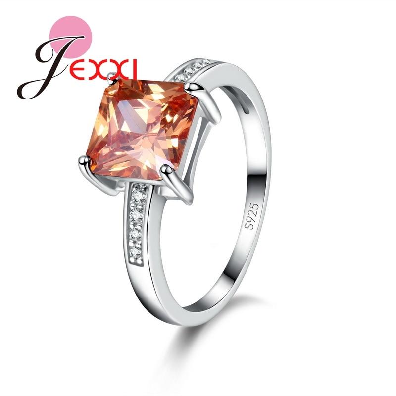 [해외]JEXXI 2019 Trendy Ring Jewelry Orange CZ Crystal Rings Hot Selling Wedding Engagement 925 Sterling Silver Rings For Women Gift/JEXXI 2019 Trendy R