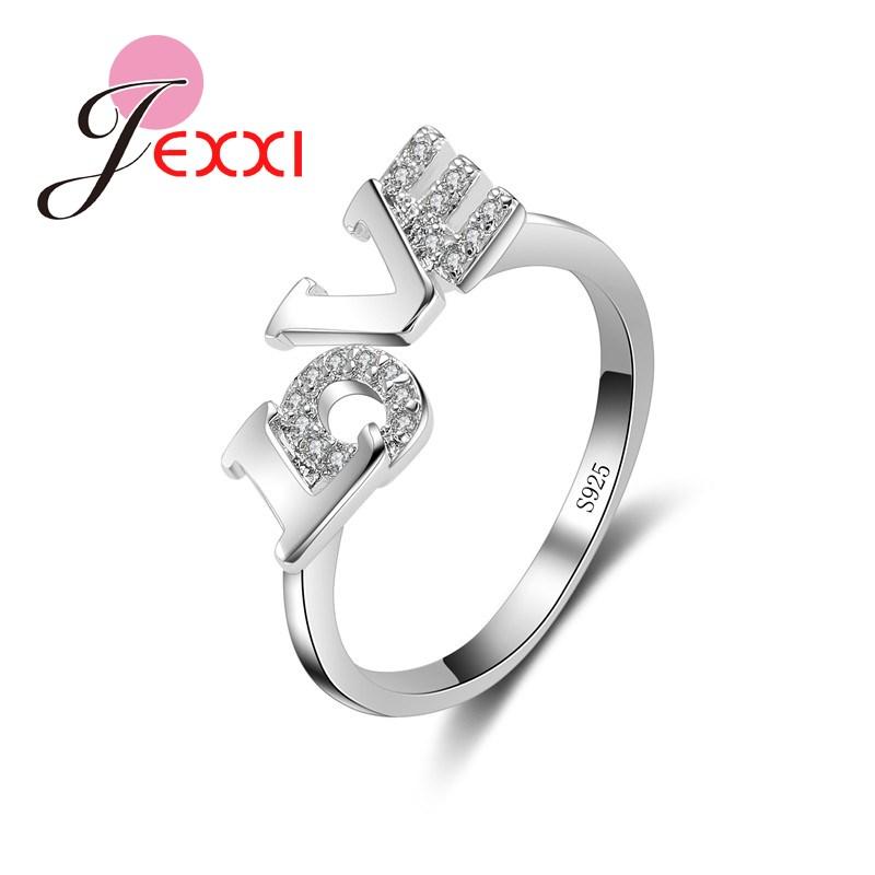 [해외]JEXXI Fashion Jewelry Rings  925 Stamp Sterling Silver Women Romantic Letter Love On Top Rhinestone Finger Rings/JEXXI Fashion Jewelry Rings  925