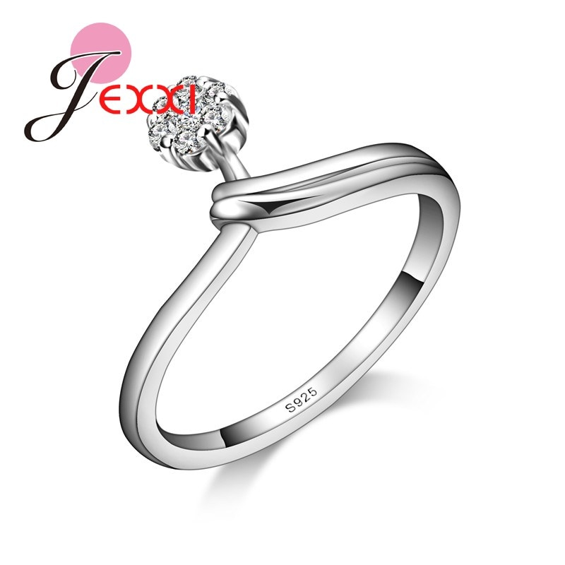 [해외]JEXXI New Products Promotion Quality Guarantee S925 Stamped Silver RingsClear White Crystal Women Wedding Jewelry /JEXXI New Products Promotion Qu