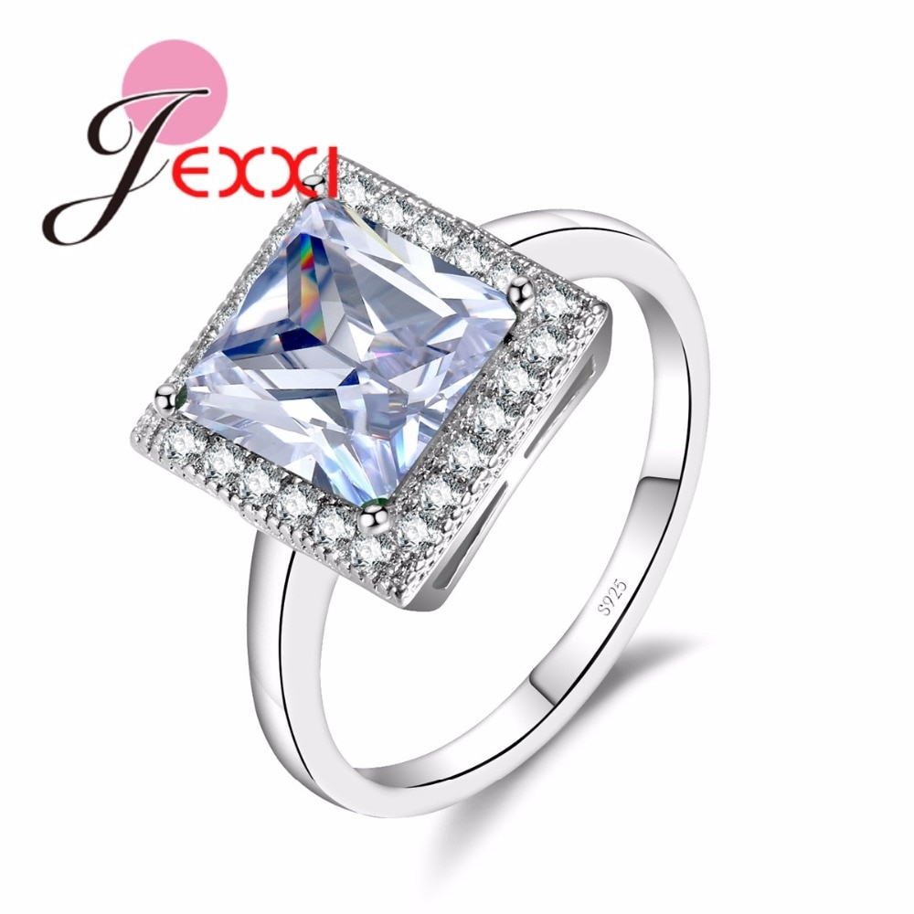 [해외]JEXXI Square Crystal Rings For Women Fashion 925 Sterling Silver Jewelry Anillos Bijoux Cubic Zirconia Engagement Wedding Ring/JEXXI Square Crysta