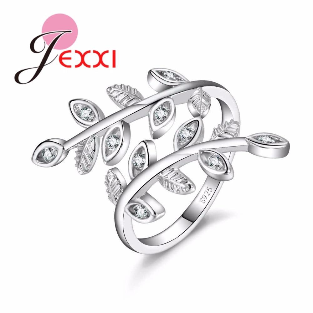[해외]JEXXI Trendy Leaf Shape Adjustable 925 Silver Cubic Zirconia Wedding Rings For Women Opening Engagement Ring Jewelry Bague Femme/JEXXI Trendy Leaf