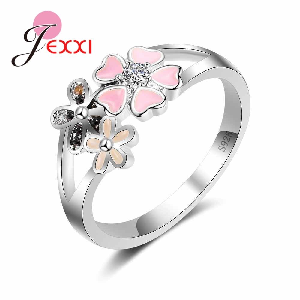 [해외]JEXXI Lovely 925 Sterling Silver Flower Rings For Women Girl Jewelry Fashion Bands Style Party Engagement Ring Anillos Accessory/JEXXI Lovely 925