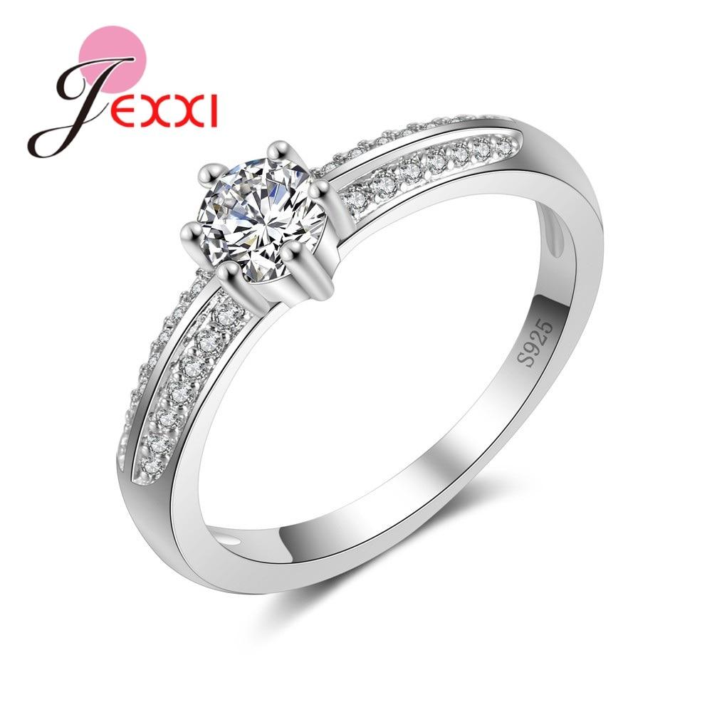 [해외]JEXXI Simple 925 Sterling Silver Cubic Zirconia Wedding Party Rings For Women Bridal Jewelry Rhinestone Engagement Ring Femme/JEXXI Simple 925 Ste