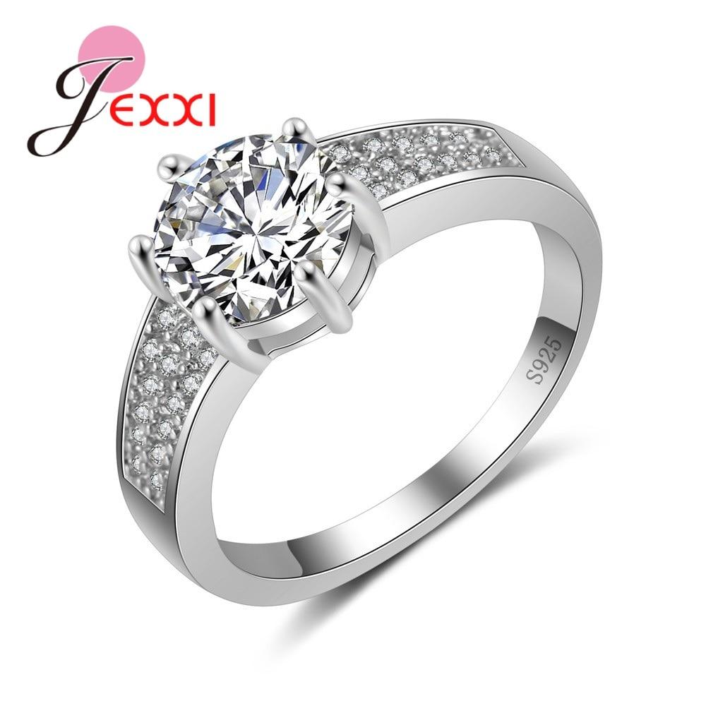 [해외]JEXXI  Brand Round Austrian Crystal Rings Women Fashion Sterling Silver 925 Bands Jewelry Cubic Zirconia Engagement/JEXXI  Brand Round Austrian Cr
