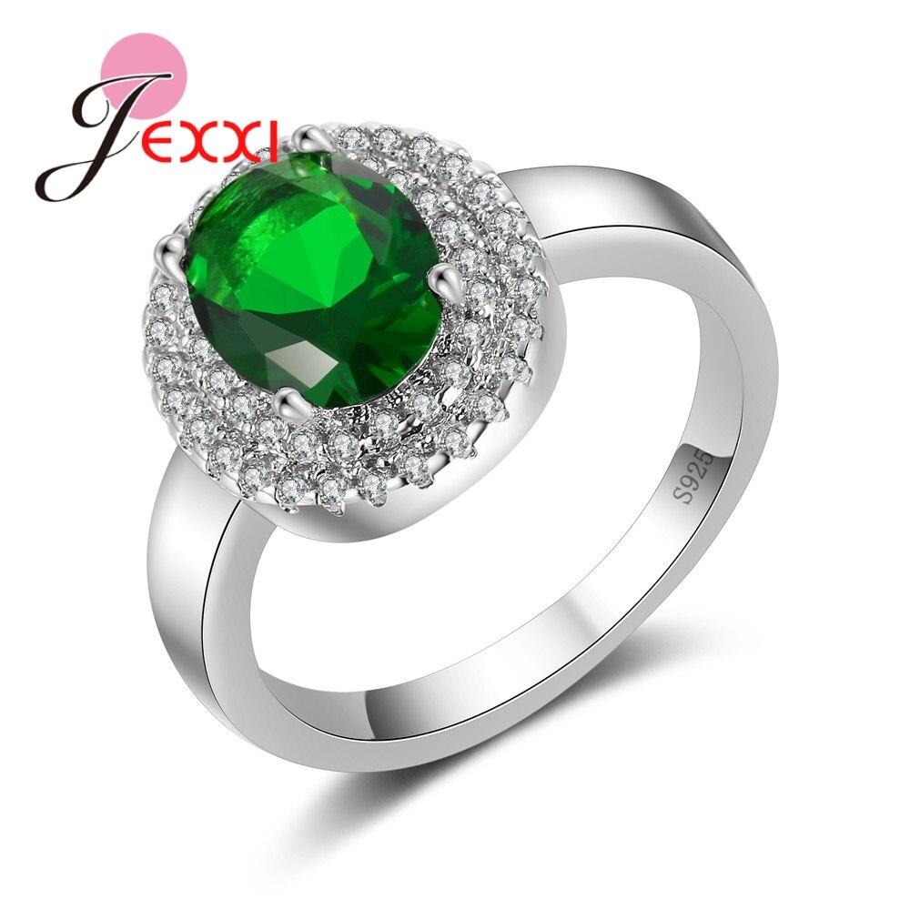 [해외]JEXXI Women Round Green Crystal Wedding Engagement Ring 925 Sterling Silver Jewelry Fashion CZ Zircon Anniversary Finger Rings/JEXXI Women Round G
